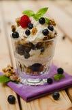 A sobremesa fresca doce do requeijão e do granola cobriu com blueb Foto de Stock Royalty Free