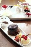 Sobremesa húmida do bolo de chocolate Fotografia de Stock