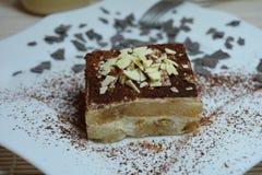 Sobremesa italiana do Tiramisu com copo de café Fotografia de Stock