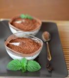 Sobremesa italiana do tiramisu na placa marrom Fotografia de Stock