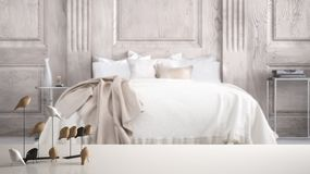 Sobremesa o estante blanca con el ornamento minimalistic del pájaro, knick del chirrido - destreza sobre dormitorio clásico borro imagen de archivo