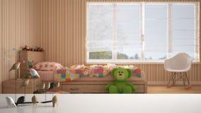 Sobremesa o estante blanca con el ornamento minimalistic del pájaro, knick del chirrido - destreza sobre dormitorio coloreado bor foto de archivo libre de regalías