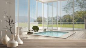 Sobremesa o estante de madera con los floreros modernos minimalistic sobre cuarto de baño moderno borroso con la ventana panorámi ilustración del vector