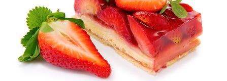 Sobremesa - torta da morango isolada Fotos de Stock
