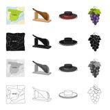 Sobremesa, turismo, península e o outro ícone da Web no estilo dos desenhos animados Bagas, fruto, ícones do alimento na coleção  Fotografia de Stock