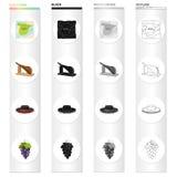 Sobremesa, turismo, península e o outro ícone da Web no estilo dos desenhos animados Bagas, fruto, ícones do alimento na coleção  Foto de Stock Royalty Free