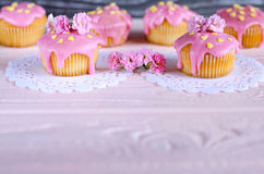 Sobremesas bonitas com geada cor-de-rosa Lugar para o texto Foto de Stock Royalty Free