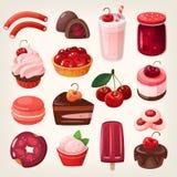 Sobremesas da cereja ilustração stock