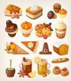 Sobremesas do dia da ação de graças ilustração royalty free