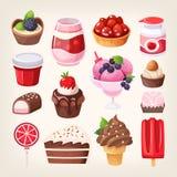 Sobremesas do doce do fruto e do chocolate ilustração do vetor