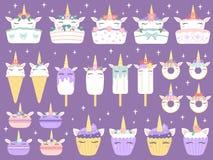 Sobremesas do unicórnio Macaron dos unicórnios, queque e filhós engraçados do chocolate do bolo delicioso da padaria Gelado do ar ilustração stock