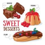 Sobremesas doces ilustração royalty free