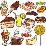 Sobremesas, doces, jogo do ícone das bebidas ilustração stock