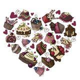Sobremesas e doces do vetor ilustração do vetor