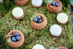 Sobremesas e doces dos bolos de casamento na barra de chocolate Imagem de Stock Royalty Free