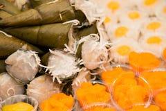 Sobremesas tailandesas da mistura no close-up do prato fotos de stock