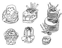 Sobremesas tiradas mão no vetor ilustração royalty free