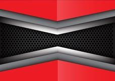 Sobreposição cinzenta vermelha abstrata do metal no vetor moderno da textura do fundo do projeto da malha do círculo Fotos de Stock Royalty Free