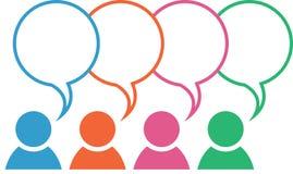 Sobreposição das cores da bolha do discurso do ícone de grupo ilustração stock