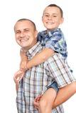 Sobreposto do pai e do filho imagens de stock
