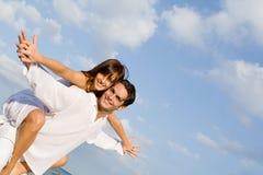 Sobreposto feliz dos pares Imagens de Stock Royalty Free