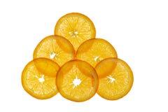Sobrepuesto seis rebanadas de naranja foto de archivo