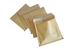 Sobres de empaquetado amarillos Imágenes de archivo libres de regalías