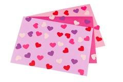 Sobres de la tarjeta del día de San Valentín Foto de archivo