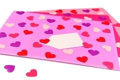 Sobres de la tarjeta del día de San Valentín Fotografía de archivo libre de regalías