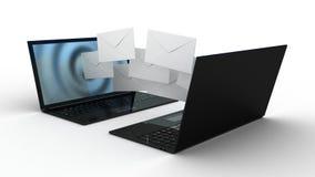 Sobres del ordenador portátil y de la mosca Foto de archivo libre de regalías