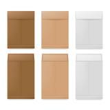 Sobres del papel blanco, beige y marrón Maqueta realista para las tarjetas de la letra o de la invitación ilustración del vector