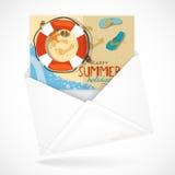 Sobres postales con la tarjeta de felicitación ilustración del vector