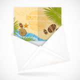 Sobres postales con la tarjeta de felicitación stock de ilustración