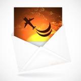 Sobres postales con la tarjeta de felicitación Imágenes de archivo libres de regalías