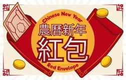 Sobres y monedas rojos para la fortuna en el Año Nuevo chino, ejemplo del vector Imagenes de archivo