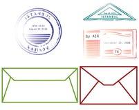 Sobres y sellos stock de ilustración