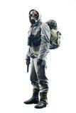 Sobrevivente apocalíptico do cargo na máscara de gás fotos de stock