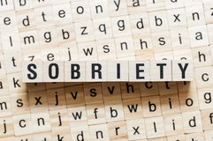 Sobriety word concept on cubes royalty free stock image