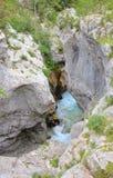 Soca河狭窄河床,斯洛文尼亚 库存照片