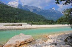 Soca河风景,朱利安阿尔卑斯山,斯洛文尼亚 库存照片