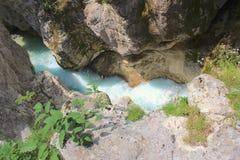 Soca河,斯洛文尼亚河床  免版税图库摄影