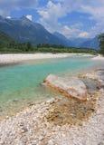 Soca河,朱利安阿尔卑斯山,斯洛文尼亚 免版税图库摄影