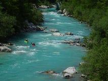 Soca谷河,斯洛文尼亚 库存照片