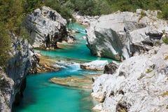 Soca flod, Slovenien Royaltyfri Fotografi