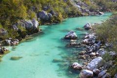 Soca Fluss in Slowenien Lizenzfreies Stockfoto