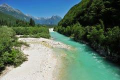 Soca/Isonzo河,斯洛文尼亚 库存照片