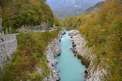 Soca River Near Kobarid. The Soca River called Izonso in Italian as it flows near Kobarid in north west Slovenia in the autumn Royalty Free Stock Photo