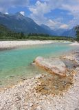 Soca river, Julian Alps, Slovenia Royalty Free Stock Photography