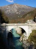 Soca river and Napoleon Bridge Stock Photos