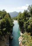 Soca River Near Kobarid. The River Soca, which runs through SLovenia and Italy (where it is known as the Isonzo), flowing through the alpine landscape near the Stock Photos